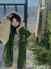 棒球外套 VINTAGE棒球服女春秋2021新款美式復古高街寬鬆綠色夾克外套INS潮 曼慕