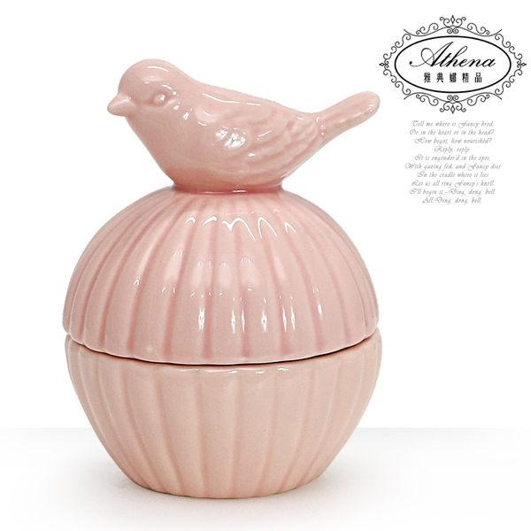 【雅典娜家飾】粉紅小鳥圓形陶瓷珠寶收納盒-GS07