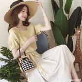 洋裝女2020新款夏季洋氣顯瘦套裙早春很仙的兩件套裝女神a字裙