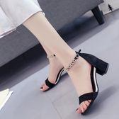 高跟涼鞋 夏款高跟粗跟包跟串珠性感女涼鞋細跟腳腕綁帶韓版女鞋羅馬鞋 MM162 『小美日記』