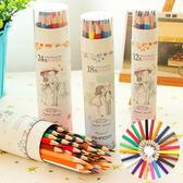 ✭米菈生活館✭【P101】無毒桶裝色鉛筆18色 學生 設計 辦公 多色 創意 文具 繪畫