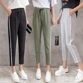 冰絲運動褲女九分燈籠褲寬鬆哈倫褲女2020新款薄款夏季 LF3533『黑色妹妹』