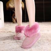 雪靴 新款秋冬季雪地靴女士翻毛短筒靴磨砂棉靴學生圓頭防水防滑保暖鞋