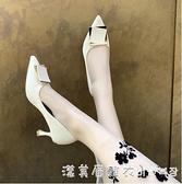 高跟鞋女2021年新款春秋季氣質百搭設計感小眾法式細跟尖頭單鞋子 美眉新品