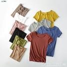 短袖T恤女夏波浪休閒ins大甜美色上衣莫代冰打底衫 圖拉斯3C百貨