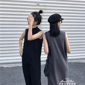無袖背心連衣裙新款春季時尚寬鬆開叉背心裙學生中長款打底裙『夢娜麗莎精品館』