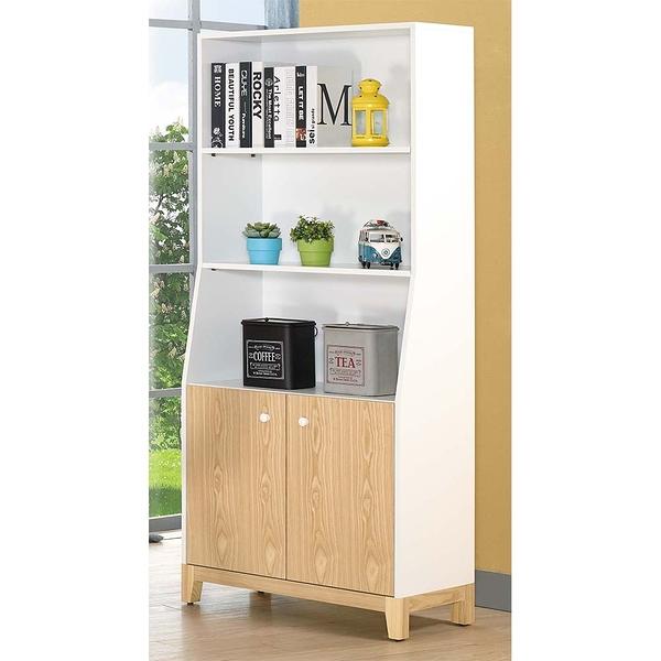 【森可家居】溫妮2.7尺雙門書櫃 8JX353-7
