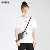 夏季莫代爾棉圓領短袖T恤歐美簡約字母印花青半袖體恤 潮流館