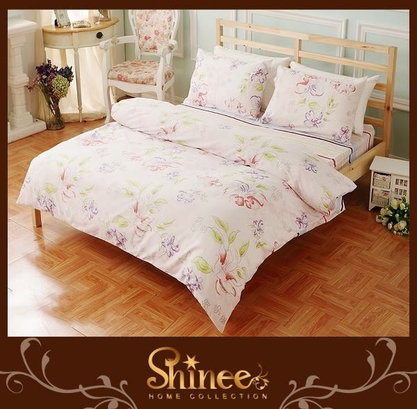 原價3980↘SHINEE 100%純棉《花漾蝶舞》標準雙人(5X6.2尺)四件式薄被套床包組