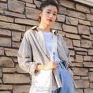 春秋裝新款外套學生寬鬆鹽系格子襯衫女寸上衣設計感小眾韓版 快速出貨