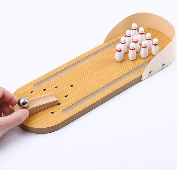 保齡球 創意迷你木質保齡球兒童兒童成人指尖桌面小玩具鋼珠桌游聚會游戲【快速出貨八折優惠】