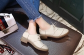 牛津鞋-春秋女鞋英倫繫帶圓頭複古小皮鞋學院風粗跟牛津鞋中跟單鞋 東川崎町