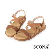 SCONA 蘇格南 全真皮 精緻雷射交叉舒適涼鞋 棕色 31025-2