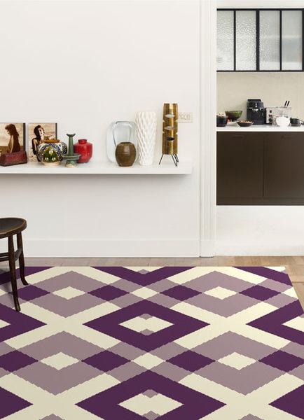 地毯 范登伯格 艾嘉麗 新元素進口地毯 菱格紫80x150cm