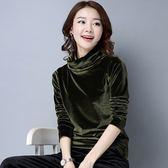 EASON SHOP(GU7626)韓版亮面金絲絨純色可反折高領長袖T恤女上衣服修身保暖內搭衫彈力貼身黑色粉色