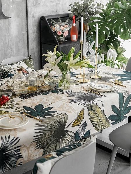 北歐防燙棉麻餐布 (120*170cm) 美式餐桌布 布藝防水防油長方形茶几布