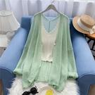 冰絲外套 春夏很仙的中長款鏤空針織開衫女寬鬆薄款冰絲防曬衣空調衫外套女-Ballet朵朵