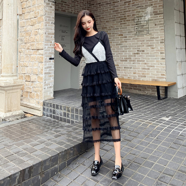 超殺出清 韓系修身顯瘦連身針織裙細肩帶套裝長袖裙裝