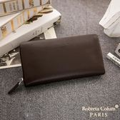 Roberta Colum  經典品味鹿紋牛皮單拉鍊長夾正規版 共3色