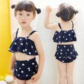 兒童泳裝羽克正韓兒童泳衣女童女孩泳裝公主比基尼分體裙式小中大童游