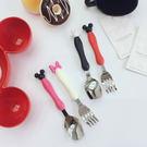 餐具 叉子 湯匙 TOOKI & CO【Z438043】可愛米奇米老鼠米妮兒童餐具/湯匙/叉子(兩件一組販售-大)-Current