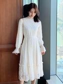 裙子女秋冬季2019年中長款過膝內搭加絨加厚蕾絲洋裝長袖打底裙