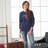 【JEEP】女裝 冒險精神刺繡長袖TEE (藍)