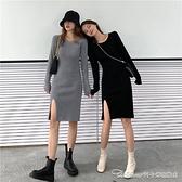 配大衣毛衣裙女秋冬內搭打底中長款小黑裙氣質修身長袖針織連身裙 阿卡娜