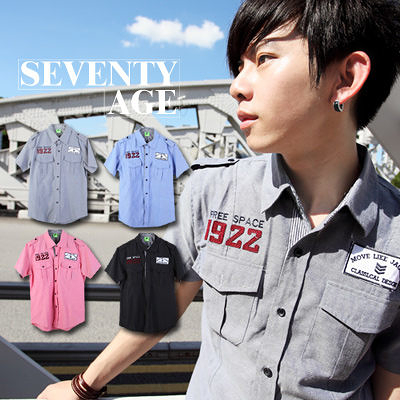 ∥柒零年代∥Traveling【N7458J】韓系首爾1922徽章貼布軍風肩章條紋袖口短袖襯衫(SH6058)