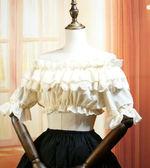 日繫lolita洋裝軟妹打底衣雪紡一字領內搭復古蕾絲短袖女襯衫夏新