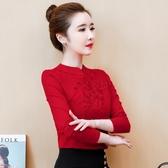 民族風上衣 媽媽繡花盤扣上衣中國風時尚打底小衫女早秋長袖t恤歐貨新款洋氣 艾維朵