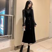 金絲絨拼接蕾絲吊帶裙兩件套收腰顯瘦洋裝長袖女2019新款秋冬 黛尼時尚精品