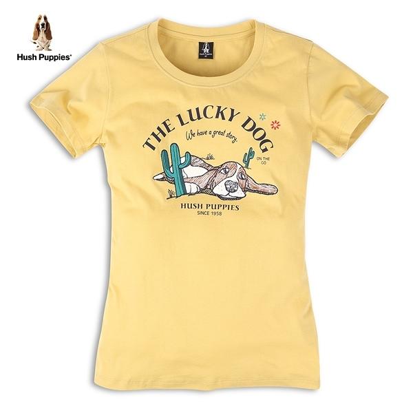 Hush Puppies T恤 女裝仙人掌趴趴狗插畫風刺繡T恤