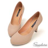 訂製鞋 防水台絨布微尖頭高跟鞋-棕色下單區