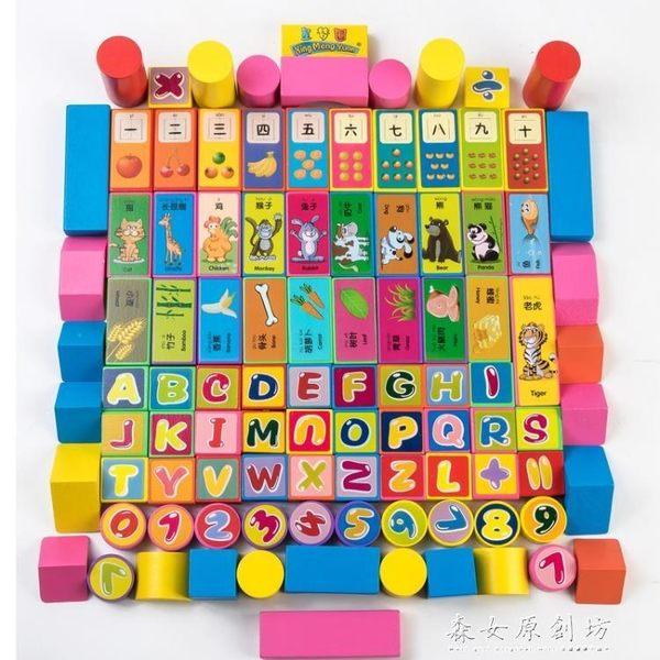 木制積木兒童益智早教100顆動物印花女孩積木玩具1-3-6歲森女原創坊