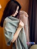 圍巾 女秋冬季正韓雙面格子披肩加厚兩用百搭保暖圍脖大披風【快速出貨】
