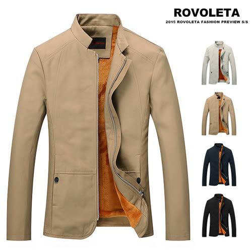 時尚簡約拉鍊加絨立領休閒外套 防風外套【TJ-780A】(ROVOLETA)