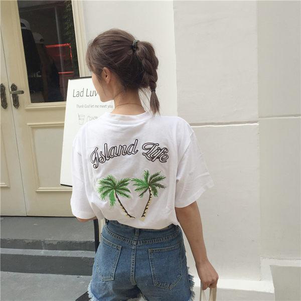 [協貿國際]原宿風椰樹刺繡圓領短袖T恤 休閑上衣1入