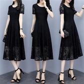 中大尺碼蕾絲洋裝 蕾絲連身裙寬鬆遮肚減齡顯瘦夏裝新款大碼女裝胖mm200斤氣質長裙 寶貝計書