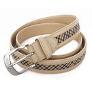 DAKS經典英倫格紋穿式皮帶(米色)239206-3