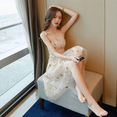 夏2018新款洋裝小禮服慵懶風吊帶長裙溫柔v超仙女連衣裙子imiss 【PINK Q】