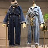 新款大碼女裝長袖工裝牛仔連體褲休閒寬鬆長褲潮 糖糖日系森女屋