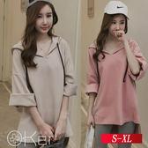 簡約寬鬆純色長袖休閒連帽上衣 S-XL O-Ker 歐珂兒 LLB5231-C