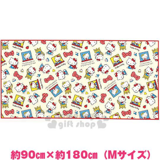 〔小禮堂〕Hello Kitty 野餐墊《M.黃.紅邊.蝴蝶結.甜點.90X180cm》春夏野餐系列 4901610-10321