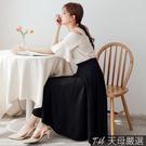 【天母嚴選】超顯瘦!垂墜不修邊長圓裙(共二色)