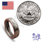 《 SilverFly銀火蟲銀飾 》手作硬幣戒指「美金(25分)-白頭海鵰 」Ailsa秋草愛