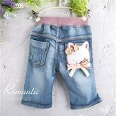 雙花蝶貓咪刷破牛仔褲(270162)★水娃娃時尚童裝★