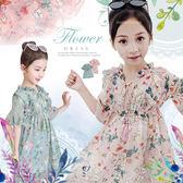 夏日時尚荷葉邊雪紡碎花洋裝-2色(270707)★水娃娃時尚童裝★