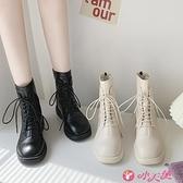 馬丁靴 2021秋冬新款馬丁靴女英倫風潮百搭休閒短靴加絨英倫風機車靴 小天使