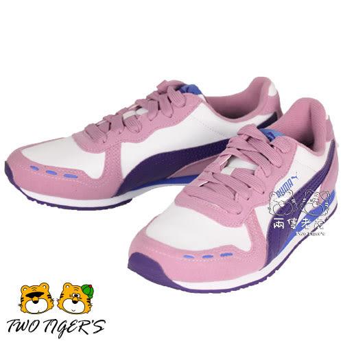 Puma Cabana Racer SL V 粉/紫 麂皮/皮革 鞋帶 運動鞋 大童鞋 NO.R1952